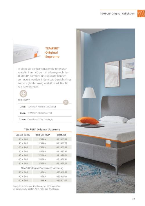 tempur matratze original supreme g nstig kaufen mit. Black Bedroom Furniture Sets. Home Design Ideas